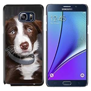 EJOOY---Cubierta de la caja de protección para la piel dura ** Samsung Galaxy Note 5 5th N9200 ** --Pastor australiano cachorro de perro de los ojos azules