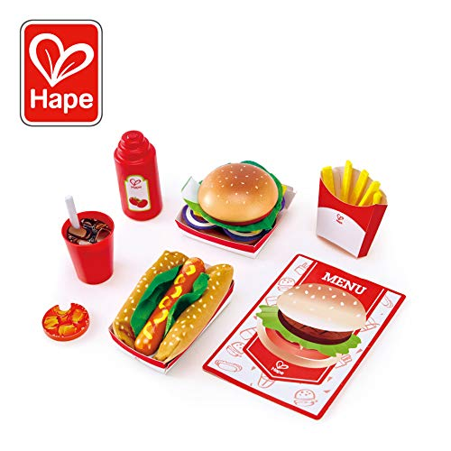 Hape Fast Food Deluxe Dinner | Wooden Diner Food for Creative Pretend Play | Classic American Meal Includes Burger, French Fries, Hot Dog, Ketchup, & Ice Cold Cola-27 Pcs, Multicolor