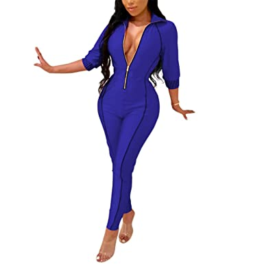 ed4582d81c43 ECHOINE Women s Sexy Bodycon Jumpsuit Deep V Neck Party Clubwear Romper  Pants Blue S