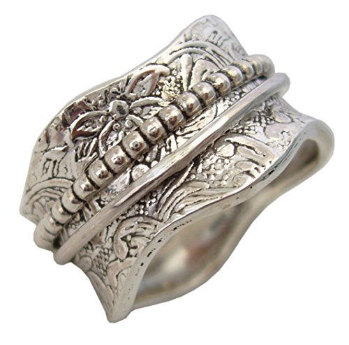 - Energy Stone Artisan Sterling Silver Meditation Spinning Ring Floral and Leaf Pattern Silver Spinner and Shank (SKU# US17) (7)