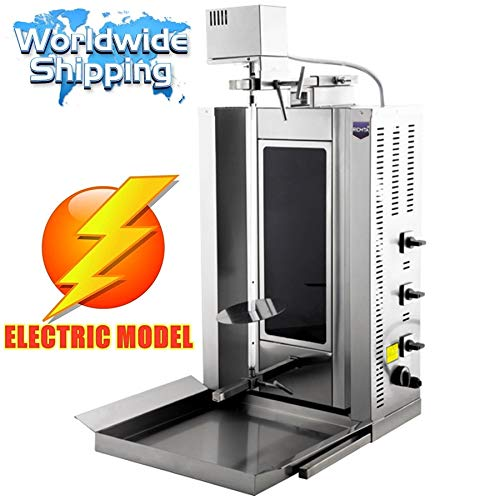 20 kg / 44 lbs Meat Capacity. ELECTRIC THERMAL GLASS BURNER Automatic Rotating Spinning Vertical Broiler Gyro Doner Grill Kebab Shawarma Tacos Al Pastor Trompo Machine 220V Commercial or form home use