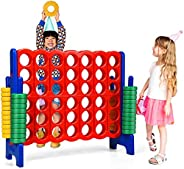 GLACER Giant 4-in-A-Row, Jumbo 4-to-Score Giant Game Set Backyard Games for Kids & Adults, 3.5FT Tall Indo