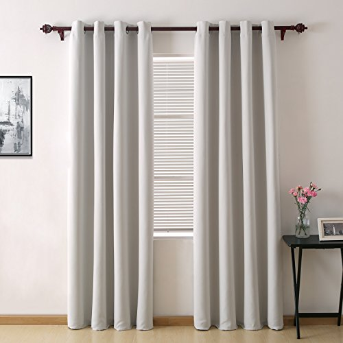 Deconovo Room Darkening Thermal Insulated Blackout Grommet Window Curtain Panel For Living Room, Silver Gray, 52x95 Inch (Grommet Silver)