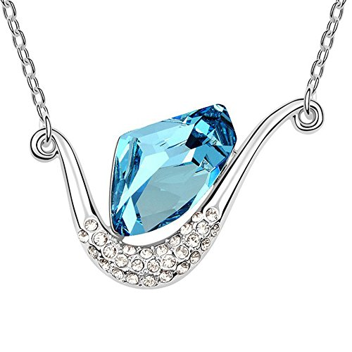 "Fashion Jewelry Necklace Libra Design Synthetic Crystal O-shaped Chain 18"" (16""+2"" Ext.) By SUYAN (Blue)"