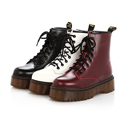Western Carrera Red Botas de Office caminando Novedad amp; el botas WIKAI Cowboy Charol botas Casual de Invierno mujeres Comfort combate Otoño 0fnqHgR