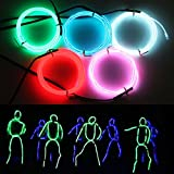 #3: Exlight 3.3 Ft Neon Light El Wire- New Drive Waterproof Electroluminescent Multiple Color-Set of 5 (Blue, Green, Red, Pink, and White)