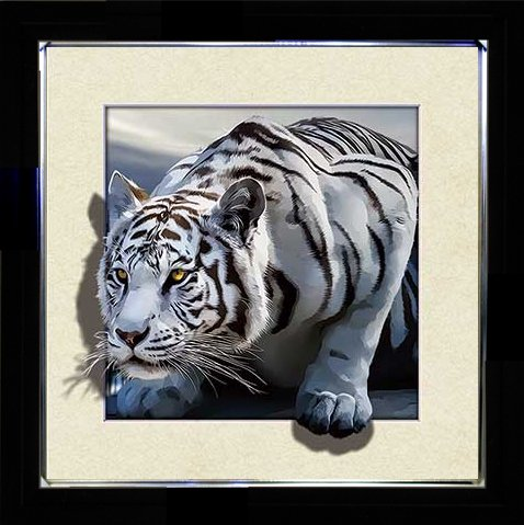 5D / 3D + Lenticular Framed 3d Picture Poster Artwork Wall Decor Holographic Pics Optical Illusion Animated Image on Canvas (With Black Frame) (White Tiger 02)