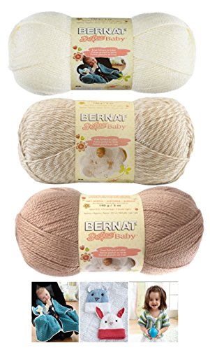 Bernat Crochet Patterns - Bernat Softee Baby Acrylic Yarn 3 Pack Bundle Includes 3 Patterns DK Light Worsted #3 (Little Mouse Mix) Little Mouse, Little Mouse Marl and White