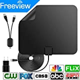 [Newest 2018] Amplified HD Digital TV Antenna with Long 50-80 Miles Range – Support 4K 1080p & All Older TV's for Indoor with Powerful HDTV Amplifier Signal Booster - 13.2ft Coax Cable/Power Adapter