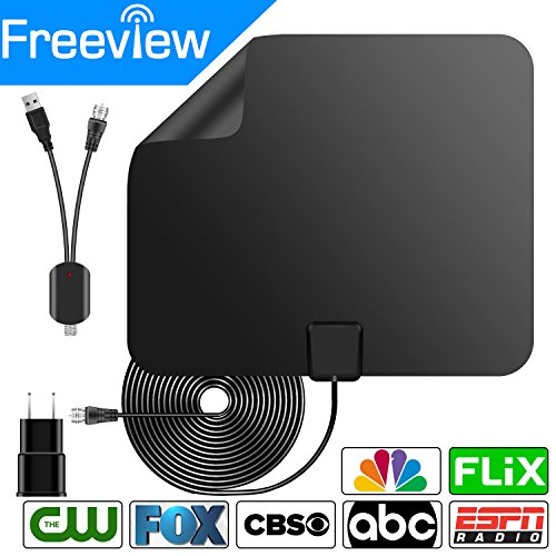 HDTV Antenna, 2018 New Version 75 Miles Range 4K HD VHF UHF Freeview Indoor Amplified TV Antenna for Life Local Channels Broadcast for All Types of Home Smart Television (Black)