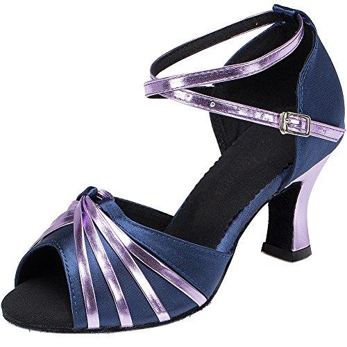 Wealsex Zapatos de Baile Zapatos Latinos de Satén Mujeres 6 cm Talón Medio Boca de Pescado Danza Étnica Zapatos de Baile de Salón Púrpura