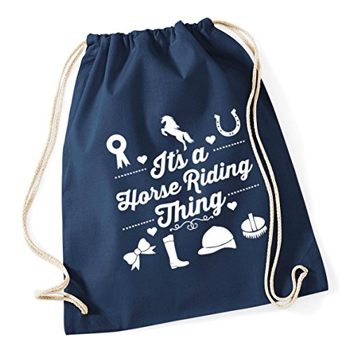 x 37cm Bag horse a HippoWarehouse Kid Cotton Navy School 46cm Sack 12 Drawstring Gym French thing riding It's litres 7Awx1qvO