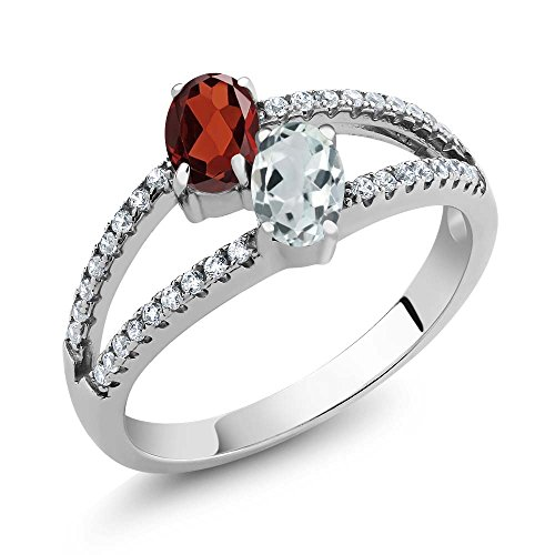 - 925 Sterling Silver Red Garnet and Sky Blue Aquamarine Two Stone Ring 1.34 Ct Oval Gemstone Birthstone (Size 7)