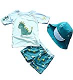 AoMoon Baby Toddler Boys Two Pieces Swimsuit Set Boys Dinosaur Bathing Suit Rash Guards with Hat UPF 50+ (Tag140)