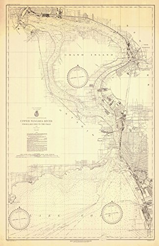 Map - Upper Niagara River From Lake Erie To The Falls, 1934 Nautical NOAA Chart - Vintage Wall Art - 36in x 54in (Lake Chart Depth Erie)