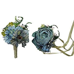 Abbie Home Prom Wrist Corsage Brooch Boutonniere Set Wedding Event Party Wristband Hand Flower Décor (1014BL) 1