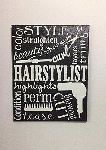 Painted Canvas Sign hair stylist decor