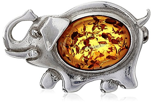 Sterling Silver Honey Amber Elephant Pin