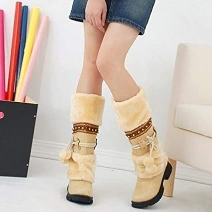 Womens Winter Warm Snow Booties Mid Calf Faux Fur Flat Buckle Boots Shoes Fleece