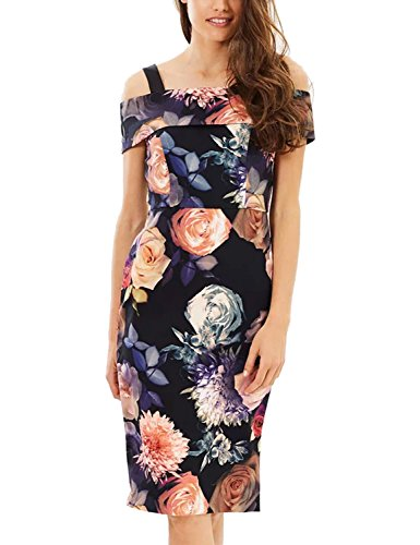 Lamilus Pencil Dress,Women's Summer Off The Shoulder Neckline Slim Elegant Cocktail Party Dinner Work Floral Midi Print Dress,Small