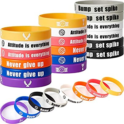 SATINIOR Pieces Motivational Silicone Bracelet Volleyball Rubber Bracelet Inspirational Silicone Wristband for Sport Themed Party School Company Group Team Student Colleague Award Gift Estimated Price £10.99 -