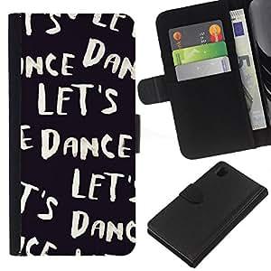iBinBang / Flip Funda de Cuero Case Cover - Vamos a bailar Texto Negro Blanco Viñeta - Sony Xperia Z1 L39H