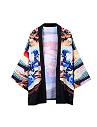VEZAD men Jacke Top Summer Japanese Five Point Sleeves Kimono Mens and Womens Couple Cloak