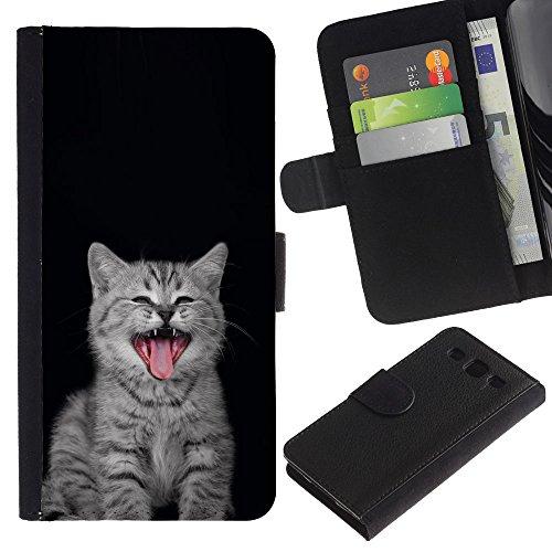 Billetera de Cuero Caso Titular de la tarjeta Carcasa Funda para Samsung Galaxy S3 III I9300 / Kitten Nebelung Persian Kurilian Bobtail / STRONG