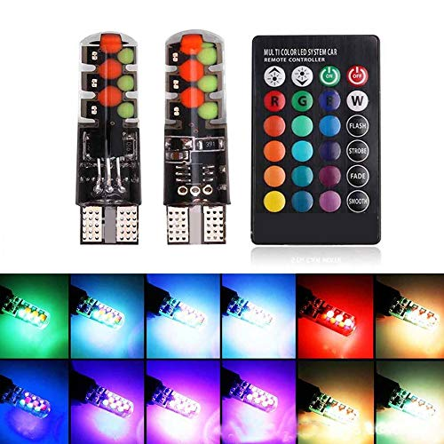 Merssavo 2 Pieces T10 LED Color Changing Car Bulbs Multi Color with Wireless Remote Controller RGB Strobe Light Automotive Wedge Side Light Tail Bulb for Dome,Trunk,Exterior and Interior (2 Piece T10 Bulbs)