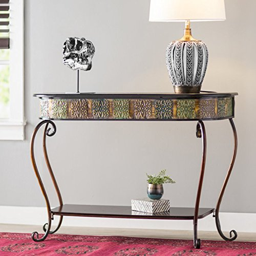Sofa Traditional Metal (Traditional Console Table - Scrolling Details Accent Sofa Table - Metal and Wood Construction)