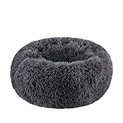 BODISEINT WonderKathy Modern Soft Plush Round Pet Bed for Cats or Small Dogs, Mini Medium Sized Dog Cat Bed Self Warming Autumn Winter Indoor Snooze Sleeping Cozy Kitty Teddy Kennel
