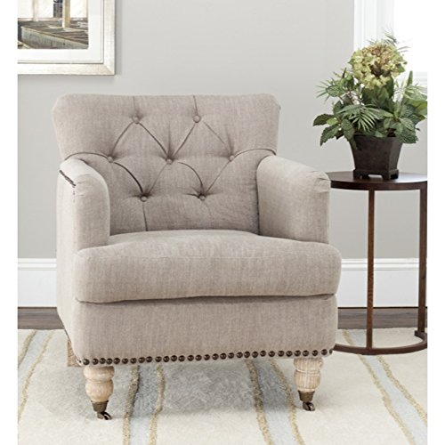 Safavieh Hudson Collection Mario Taupe and Brass Nailheads Club Chair