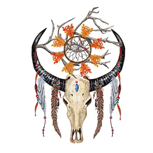 COKOHAPPY Large Temporary Tattoo , Indian Dream-Catcher Feather Sheep Skull