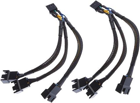 F Fityle 2X Cable Divisor de Ventilador 4 Pines para PC ...