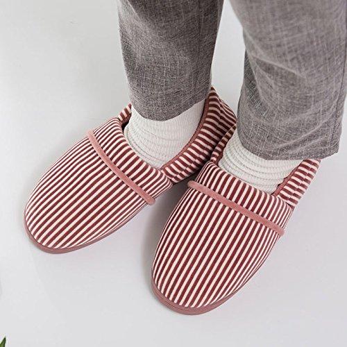 Grey slip Warmmer Slipper Shoes Strips Men Simple Anti Winter CHUANGLI Women Footwear Outdoor House Indoor AXx68w