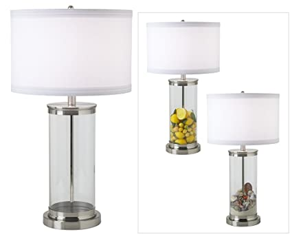 Fillable glass cylinder collectors table lamp amazon fillable glass cylinder collector39s table lamp mozeypictures Gallery