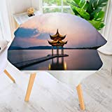 Jiahonghome Round Tablecloths-Hangzhou west Lake juxian Pavilion Waterproof Oilproof Hotproof Table Cloth Table Multiple Styles 55' Round