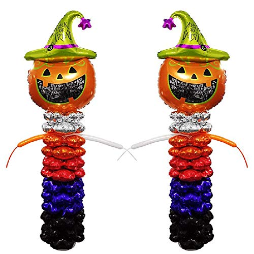 2 Sets Column Balloons Aluminum Foil Mylar Balloon Halloween Party Props Supplies Favors Ornaments Decorations (Pumpkin -