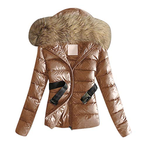 2019 Coats for Women, E-Scenery Outwear Quilted Winter Warm Fur Collar Hooded Jacket Tops with Belt Brown