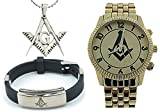 3 Piece Jewelry Set - Freemason Pendant, Bracelet & Freemasons Watch. Masonic Symbol on Gold Color Steel Band Full Gold Color Face Dial. Watches for Free Masons