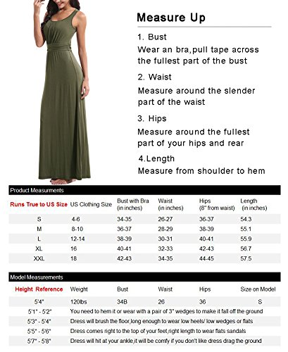 Dresses Dress Maxi Army Empire Summer Vintage Neck Zattcas Tank Casual Long Womens Green Scoop Sleeveless xw1YqHB7