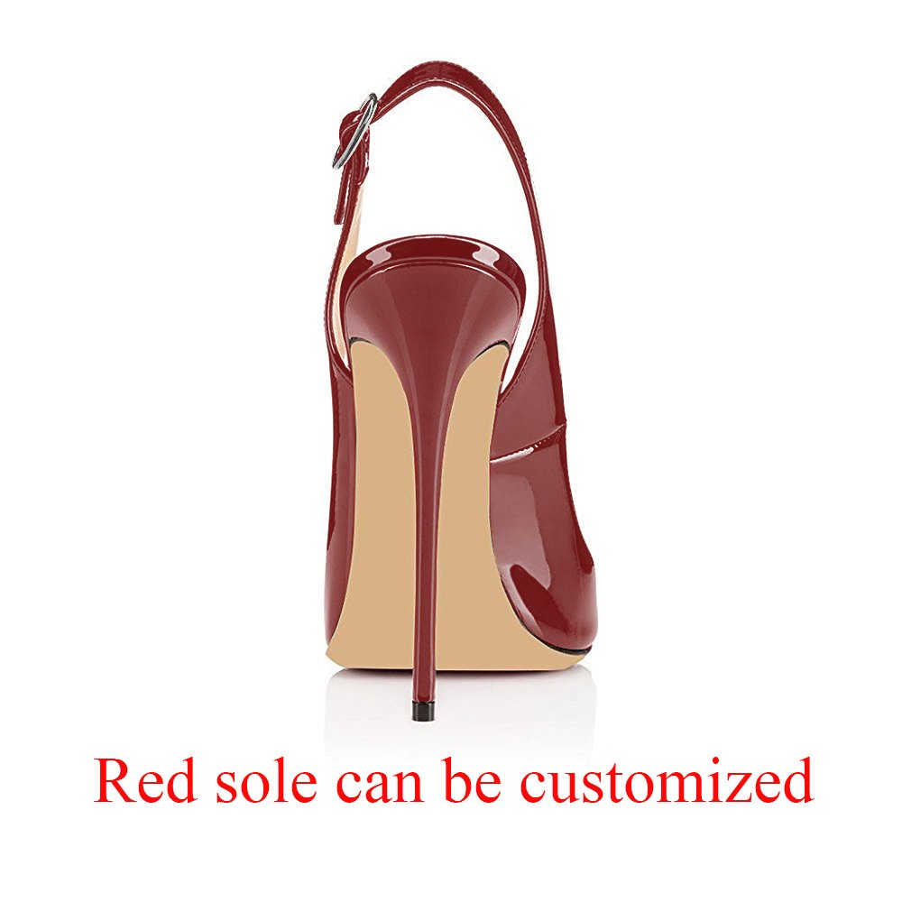 Modemoven Women's Patent Leather Pumps,Peep Toe Heels,Slingback Sandals,Evening Shoes,Cute Stilettos B06WVBLW7X 8.5 B(M) US|Red Wine
