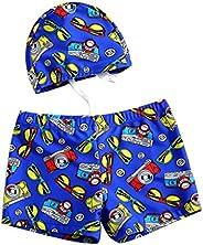 Boy's Leg Swim Shorts with Cartoon Swimming Cap for Kids Asian XL Great