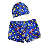 Blue Boy Leg Swim Shorts for Kids Cartoon Cartoon Car Swim Trunk, 3-5 Years Old