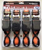Ratchet Straps Tie Down Straps 4 Pack 400 Lb Heavy Load Moving Brand New Durable Metal Hooks