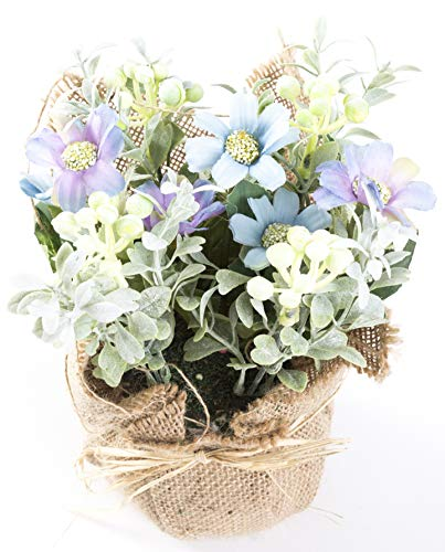 LODESTAR Artificial Flower in Burlap Cloth Mini Fake Floral Bouquet Indoor Outdoor Home Office Wedding Decoration - ()