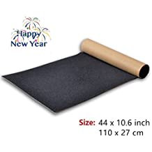 BooTaa Skateboard Grip Tape Sheet,44x10.6 inch, Bubble Free, Waterproof, Black Scooter Grip Tape, Longboard Griptape, Sandpaper for Rollerboard, Stairs, Gun, Pedal, Pistol, Wheelchair, Step (110x27cm)
