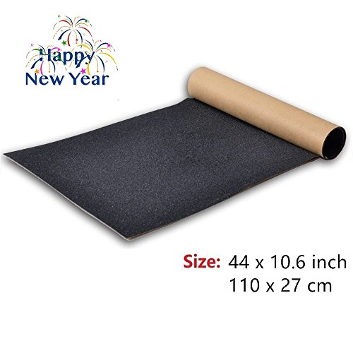 BooTaa Skateboard Grip Tape Sheet,44x10.6 inch, Bubble Free, Waterproof, Black Scooter Grip Tape, Longboard Griptape, Sandpaper for Rollerboard, Stairs, Gun, Pedal, Pistol, Wheelchair, Step (110x27cm)