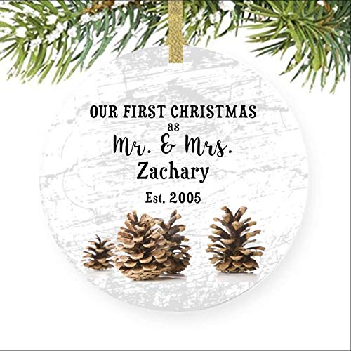 Pinecone Ornament Winter Ornaments Pine Cone Gift Wedding Favor Mr and Mrs Ornament Newlywed Gift Couples Gift Engagement Ornament