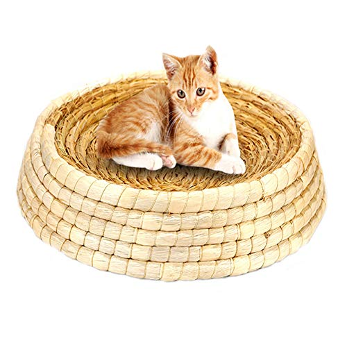 Kathson Natural Woven Grass Cat Bed Box Dog Bed Wicker for Cat/Dog/Pet Sleep with Pillow